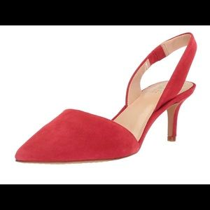 NEW Vince Camuto Red Suede Slingback Pumps 7.5